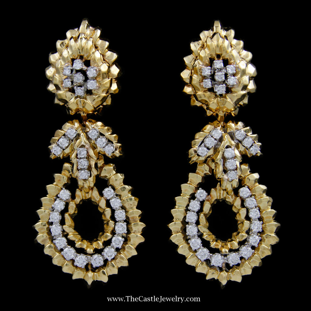 Ornate Dangling Flower Style Earrings with Round Brilliant Cut Diamond Accents in 18k Yellow Gold