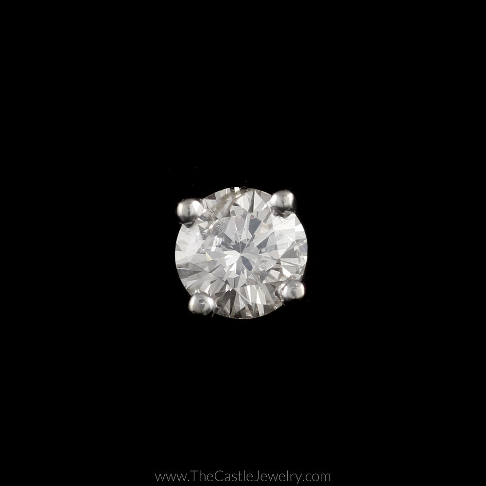 Single Round Brilliant Cut .47ct Diamond Stud in 14K White Gold - The Castle Jewelry  - 1
