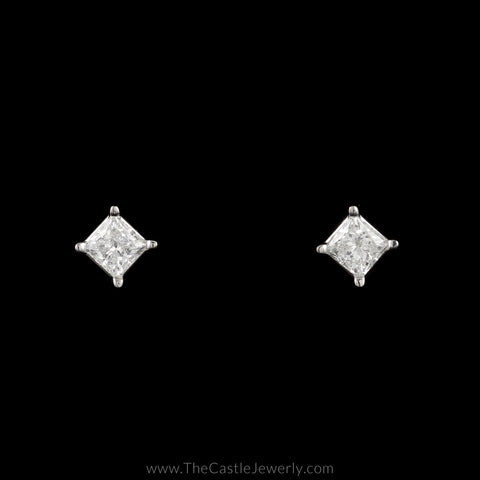 Princess Cut Diamond Stud Earrings 1cttw Screw Backs 14K White Gold