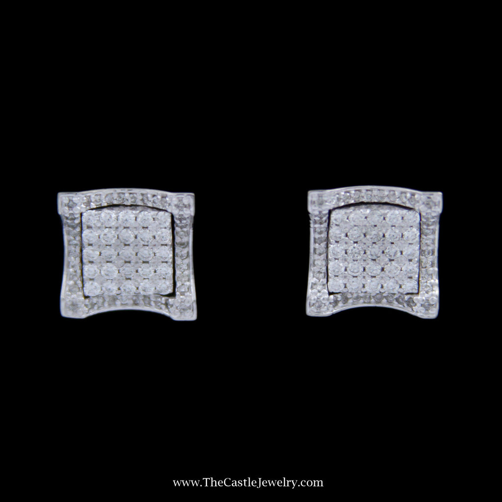 1cttw Square Shaped Pave Round Brilliant Cut Diamond Cluster Earrings in 14k White Gold