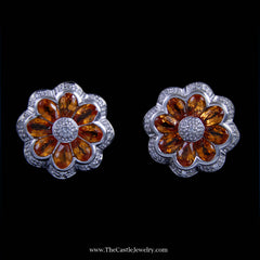 Unique Oval Citrine Flower Design Earrings w/ Diamond Bezel in White Gold - The Castle Jewelry  - 1