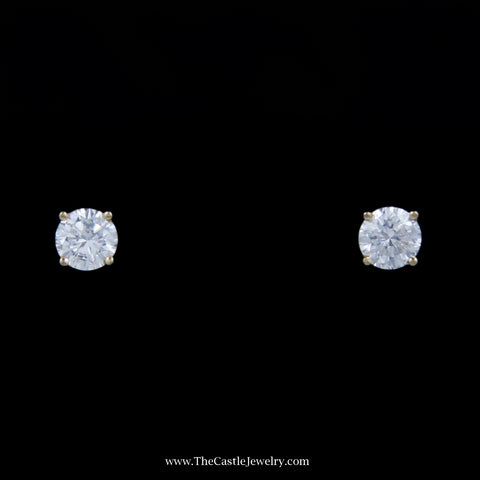 Stunning 1/2cttw Round Brilliant Cut Diamond Stud Earrings in 14k Yellow Gold
