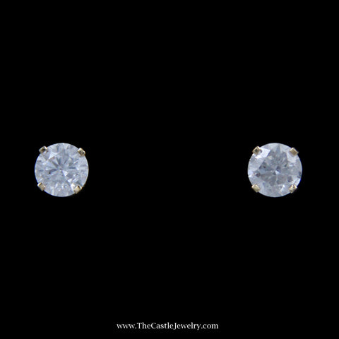 Stunning 1cttw Round Brilliant Cut Diamond Stud Earrings in Yellow Gold
