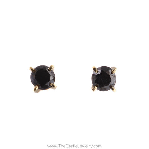 Beautiful Round Black Diamond 1.50cttw Stud Earrings in 14K Yellow Gold