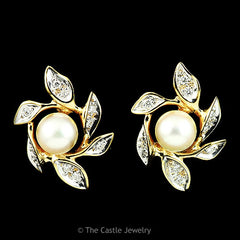 Pearl & .30cttw Diamond Leaf Designed Earrings in 14K Yellow Gold - The Castle Jewelry  - 1