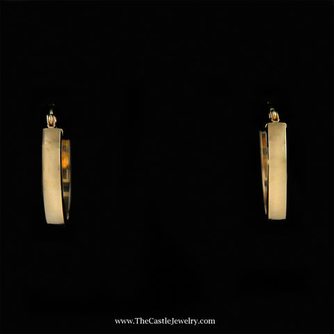 Medium Sized Squared Hollow Hoop Earrings in 14K Yellow Gold