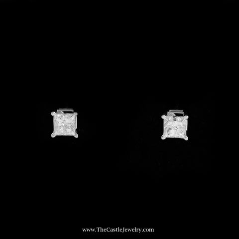 Stunning 1cttw Princess Cut Diamond Stud Earrings in 14K White Gold