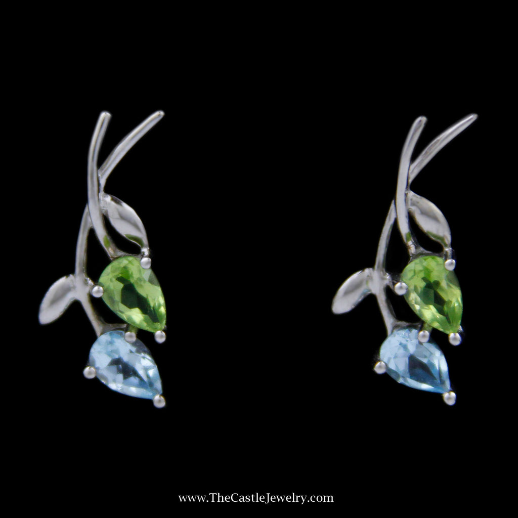 Pear Shape Topaz & Peridot Earrings w/ Leaf Design Mounting in 10k White Gold