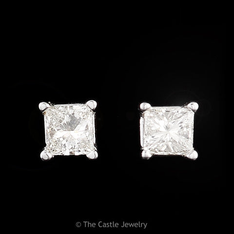 Princess Cut 1/4cttw Diamond Stud Earrings in 14k White Gold