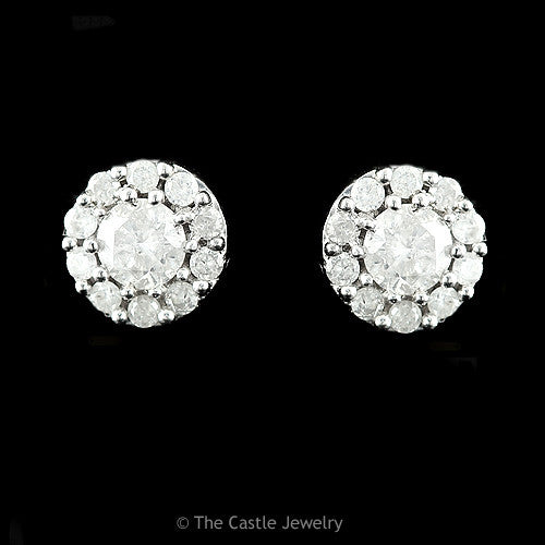 Round Brilliant Cut Diamond Cluster Studs 1cttw in 10K White Gold - The Castle Jewelry  - 1