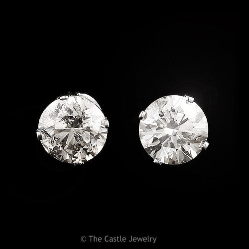 Christmas Special! Round Diamond Stud Earrings 1cttw in 14k White Gold - The Castle Jewelry  - 1