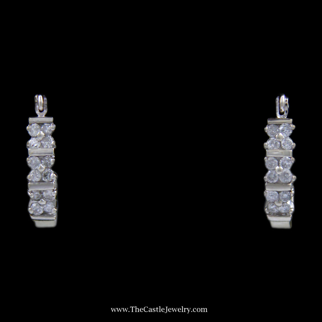 Illusion Tension Set Diamond 3 Row Quad Cluster Earrings Crafted in 14k White Gold