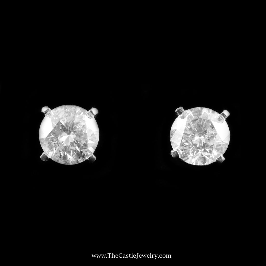 Clarity Enhanced 4.17cttw Round Brilliant Cut Diamond Stud Earring in White Gold - The Castle Jewelry  - 1
