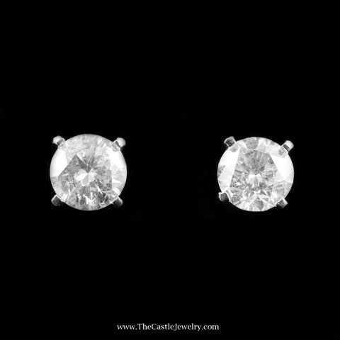 Clarity Enhanced 4.17cttw Round Brilliant Cut Diamond Stud Earring in White Gold