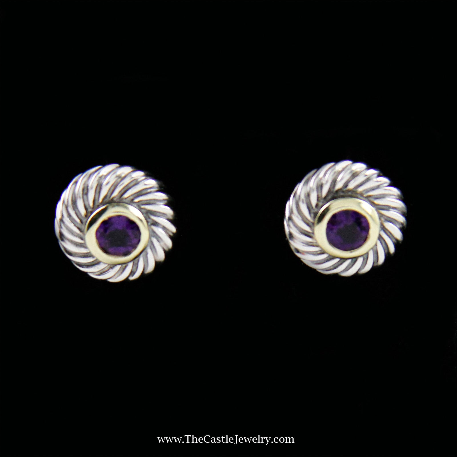 david yurman twisted bezel amethyst earrings in sterling silver