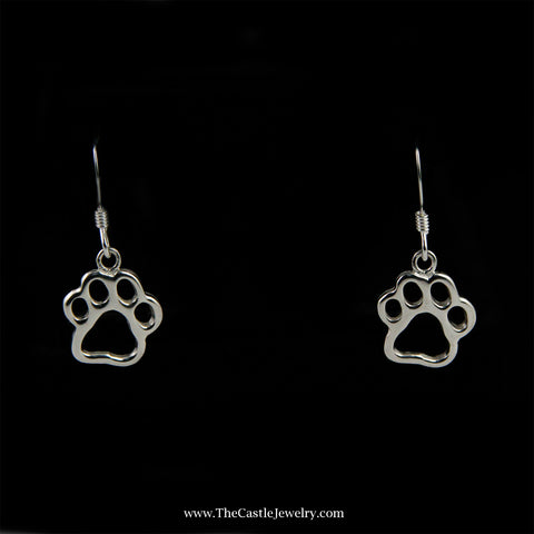 Paw Print Dangle Earrings in Sterling Silver