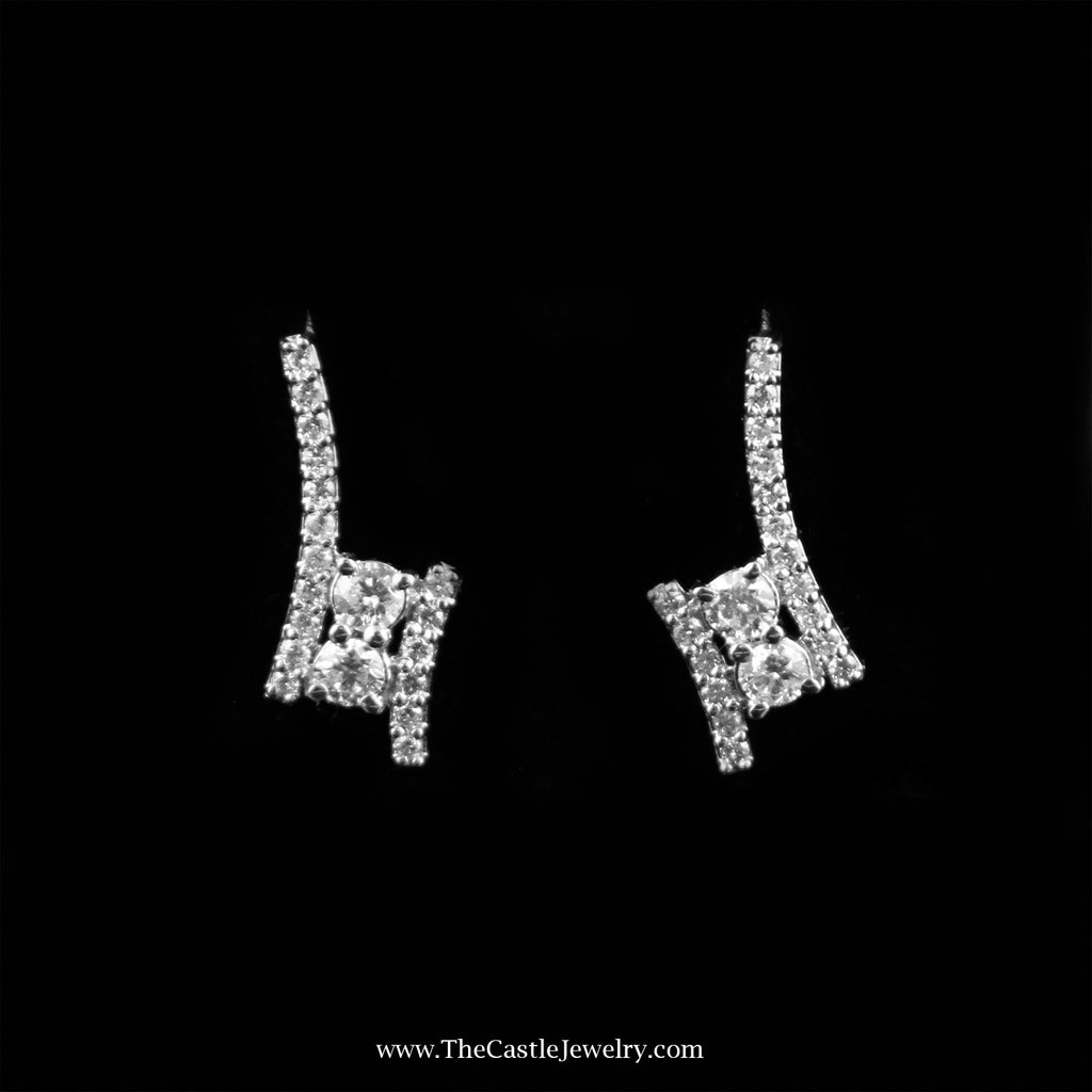 My Love My Best Friend 2 Round 1cttw Diamond Earrings in 14K White Gold - The Castle Jewelry  - 1