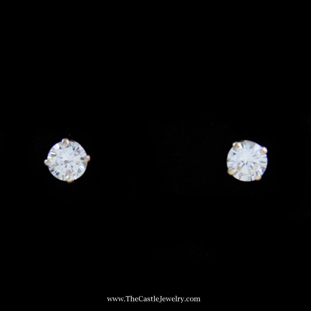 Gorgeous Round Brilliant Cut Diamond Studs in 14K Yellow Gold - The Castle Jewelry  - 1