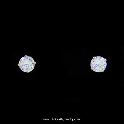 Gorgeous Round Brilliant Cut Diamond Studs in 14K Yellow Gold