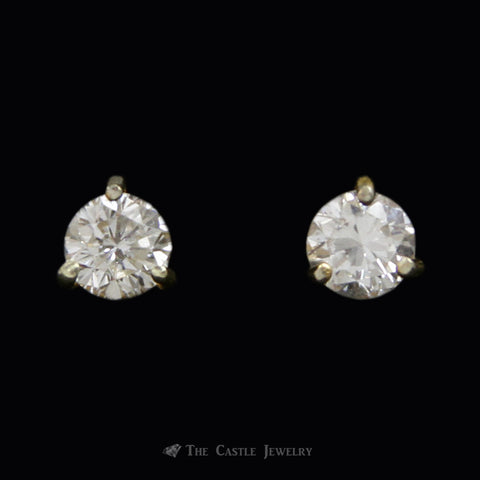 Round Brilliant Cut 3/4cttw Diamond Stud Earrings in 14K Yellow Gold Martini Mounting