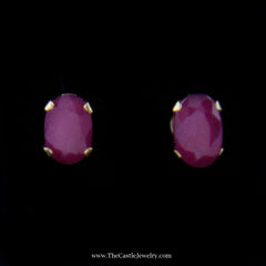 Beautiful Oval Ruby Stud Earrings in Yellow Gold - The Castle Jewelry