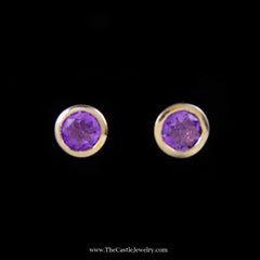 Lovely Round Amethyst Stud Earrings in Yellow Gold - The Castle Jewelry