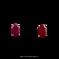 Beautiful Oval Ruby Stud Earrings in Yellow Gold - The Castle Jewelry  - 1