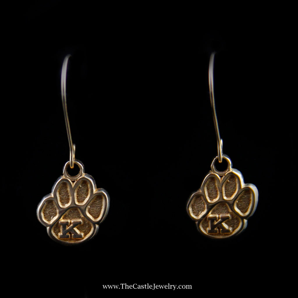 "Dangling Wildcat Paw Print ""K"" Earrings in Yellow Gold - The Castle Jewelry  - 1"