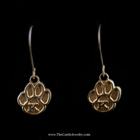 "Dangling Wildcat Paw Print ""K"" Earrings in Yellow Gold"