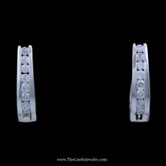 SPECIAL! Stunning 1cttw Channel Set Round Brilliant Cut Diamond Hoop Earrings in 10k White Gold - The Castle Jewelry  - 1