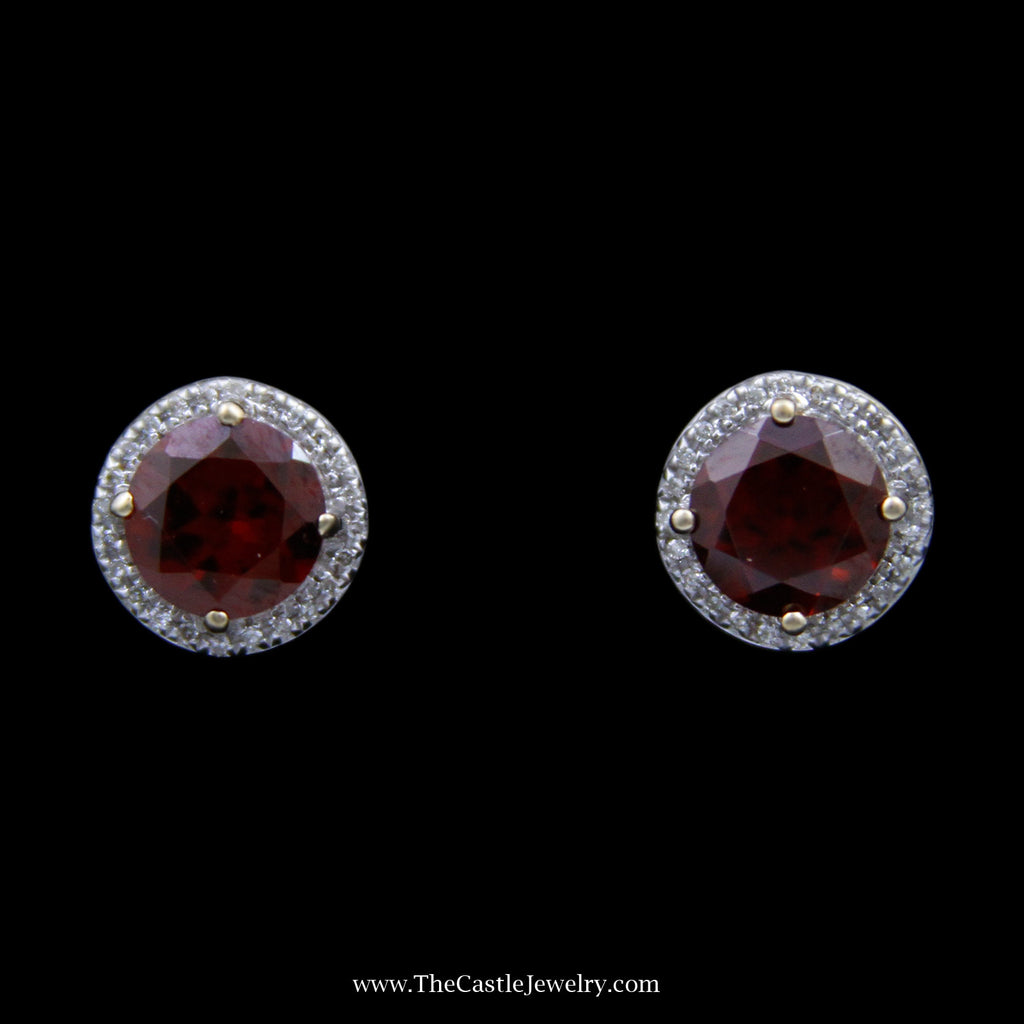 Round Garnet Stud Earrings w/ Round Brilliant Cut Diamond Halo and Butterfly Backs in 14k Yellow Gold - The Castle Jewelry  - 1