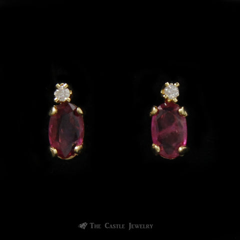Small Oval Ruby Earrings with Diamond Accents in 14K Yellow Gold