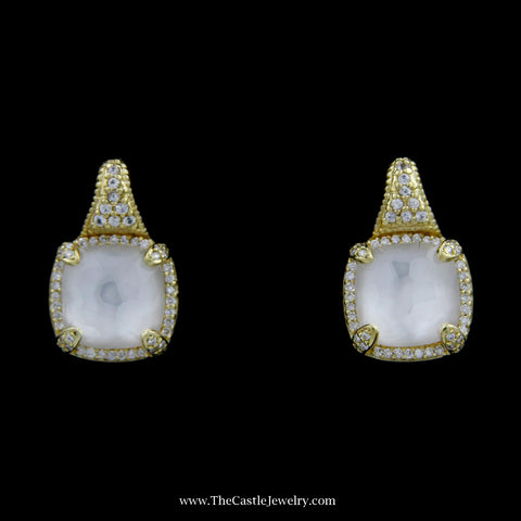 Judith Ripka Squared Mother of Pearl Earrings w/ Diamond Bezel & Mounting in 18k Yellow Gold