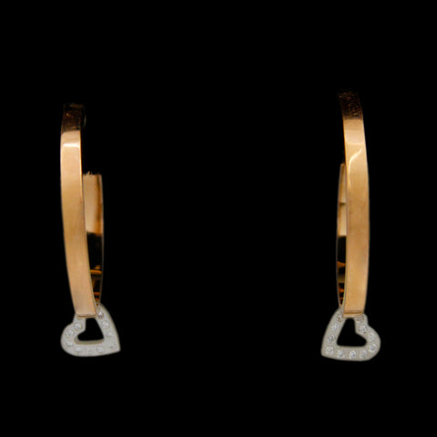 Designer Escada Hoop Earrings w/ Platinum Diamond Heart Dangle in 18K Yellow Gold
