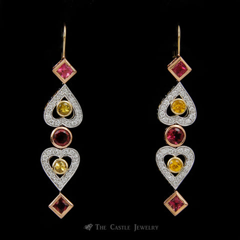 Demeter Dangling Diamond Earrings w/ Pink Tourmaline & Yellow Sapphire in 14k Rose/White Gold