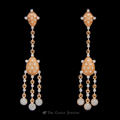 Diamond Chandelier Earrings w/ .50cttw Round Brilliant Cut Diamonds Crafted in 14k Rose Gold
