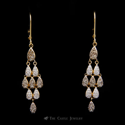 Pear Shaped Cluster Chandelier Earrings w/ .25cttw Round Diamonds w/ lever backs in 14k Yellow Gold