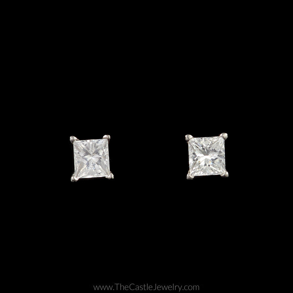 Stunning 3/4cttw Princess Cut Diamond Studs in Platinum with Screw On Backs - The Castle Jewelry  - 1