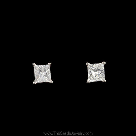 Stunning 3/4cttw Princess Cut Diamond Studs in Platinum with Screw On Backs