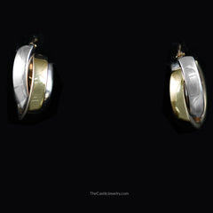Two Toned Cross Over Squared Gold Hoop Earrings in 14K White & Yellow Gold - The Castle Jewelry  - 1