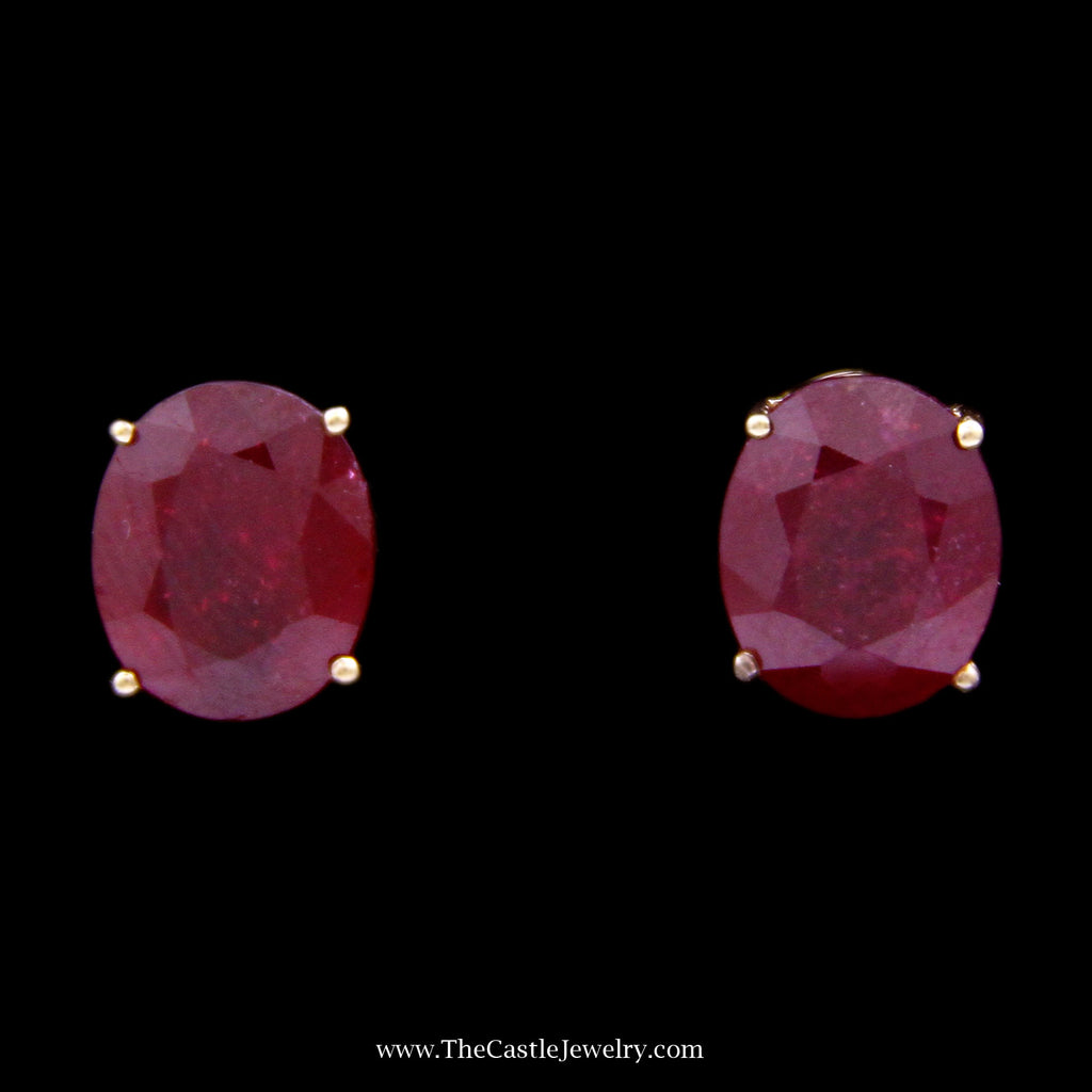 Oval Cut Ruby Stud Earrings in 4 Prong Mounting w/ Butterfly Backs Crafted in 14k Yellow Gold - The Castle Jewelry  - 1