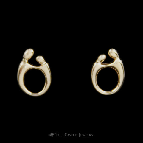Mother Child Earrings in 14k Yellow Gold