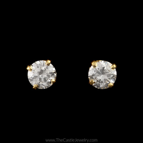 Round Brilliant Cut Diamond Stud Earrings in 14K Yellow Gold