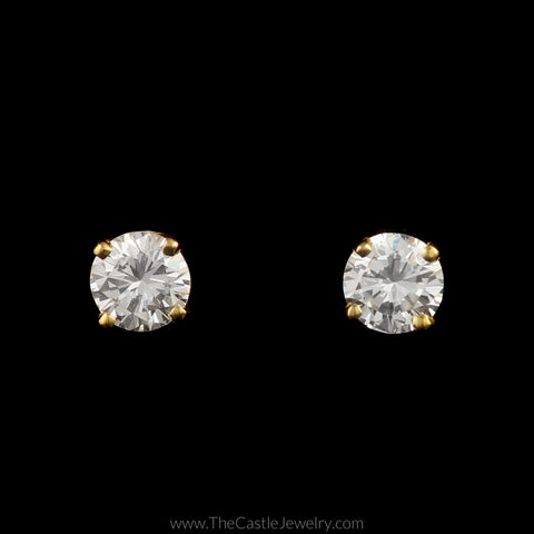 Stunning Round Brilliant Cut Diamond Stud Earrings in 14K Yellow Gold