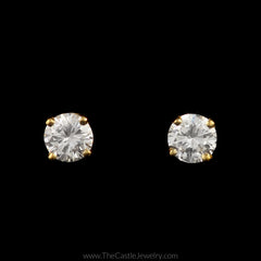 Stunning Round Brilliant Cut Diamond Stud Earrings in 14K Yellow Gold - The Castle Jewelry  - 1