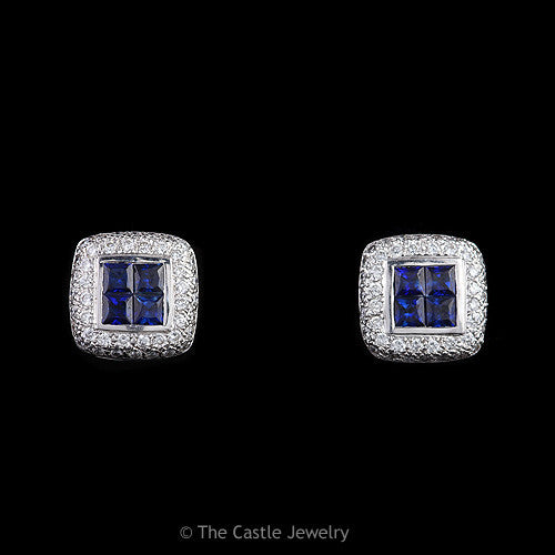 Quad Set Princess Cut Sapphire Earrings with Pave Round Diamond Halo in 14K White Gold - The Castle Jewelry  - 1