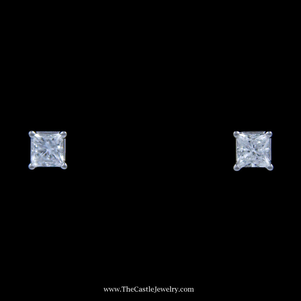 Stunning 1/2cttw Princess Cut Diamond Stud Earrings in 18k White Gold - The Castle Jewelry  - 1