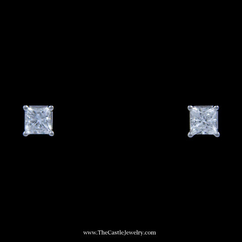 Stunning 1/2cttw Princess Cut Diamond Stud Earrings in 18k White Gold