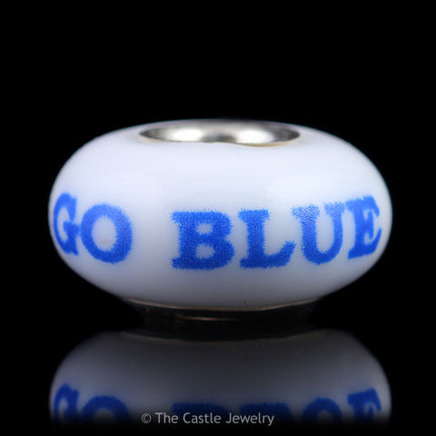Collegiate University of Kentucky Fenton Art Glass Bead Go Blue