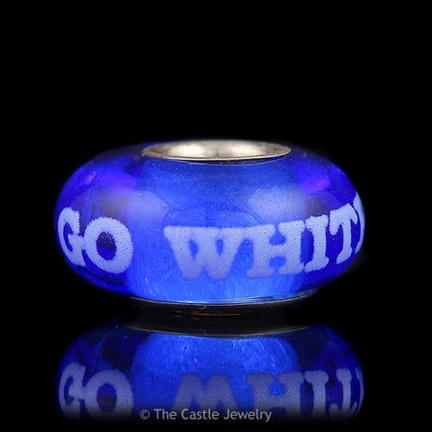 Collegiate University of Kentucky Fenton Art Glass Bead Go White